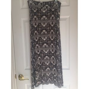 Cotton black and white patterned maxi skirt
